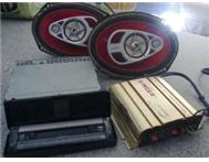 CAR RADIO AMP AND SPEAKERS FOR SALE