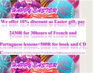 Easter discount for French SPanish& Portuguese lessons