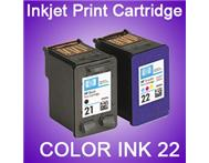 HP 21 Black and 22 Tri-Colour printer cartridges for sale