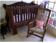 Blackwood sleigh cot and rocking chair