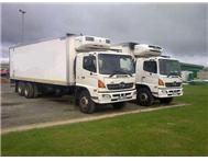 2006 X2 TOYOTA HINO 15258 WITH FRIDGE BODY AND MEAT RAILS.