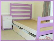 Piano bed bedside pedestal and two 60cm wide storage boxes on wheels
