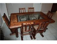 BUSHCRAFT DINING TABLE INCLUDING 6 CHAIRS AND MIRROR