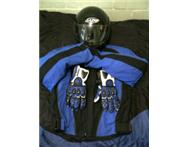 Motorcycle Jacket Gloves & two Helmets for sale
