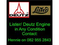 Wanted Lister/ Deutz Engines in Any Condition.