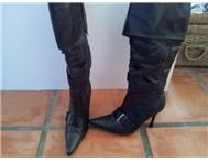 Sexy black leather heeled boots for sale