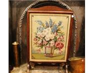 Fireplace Screen Old Oak framed floral tapestry screen
