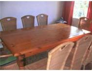 8 Seater Pine Dining Room Table and 8 Wicker Dining Chairs Tongaat Maidstone village
