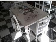 Vintage metal top table with chairs