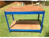 Steel workbench with 2 wooden leve...