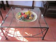 Coffee Table Square Wrought Iron Black.With Glass Top