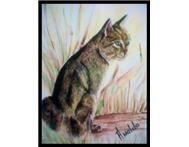 Wild cat in long grass - Water Colo...