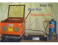 Sandblasting box compressor and stencil exposure unit
