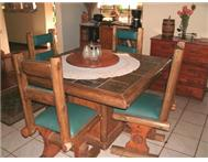Log Wood Dining Table - 4 Seater - Slate Top