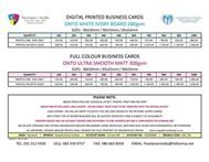 BUSINESS CARDS PRICELIST