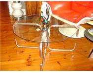 VINTAGE RETRO CHROME AND GLASS COFFEE TABLE CIRCA 1970