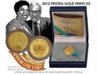 Most Wanted Mandela / Sisulu 2012 Protea 1/0th Gold coin