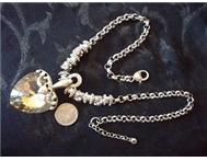 Clear Ambertone Crystal Pendant & Silver & Crystal Bead Necklace