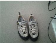 Mountain bike cleat shoes.