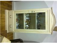 Oregan Pine -Cream Distressed Display Cabinet