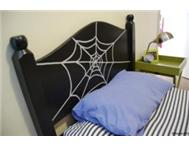 REDUCED glow in the dark spiderweb headboard (reversible too!)