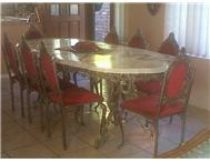 Classic Marble Dining Room Table with 8 chairs and Serving Trolley