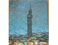Pretoria Post Office Tower Oil Painting in Art Limpopo Hoedspruit District - South Africa