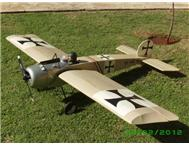 One fifth scale Fokker Eindekker III R/C model aircraft with glow motor and servos.