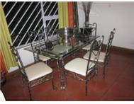 Dining Room Table Wrought Iron With 6 Matching Chairs.