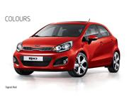 New kia rio 1.2 m/t hatch in signal red.