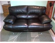 2 Black Italian Leather Couches for sale